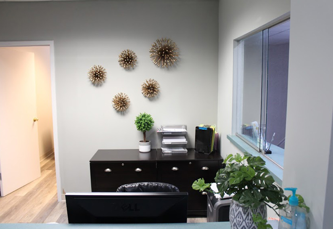 Front desk with exquisite wall accents