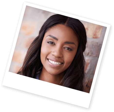 Instant print photo of young woman with gorgeous smile