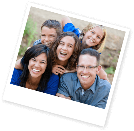 Instant print photo smiling family of five