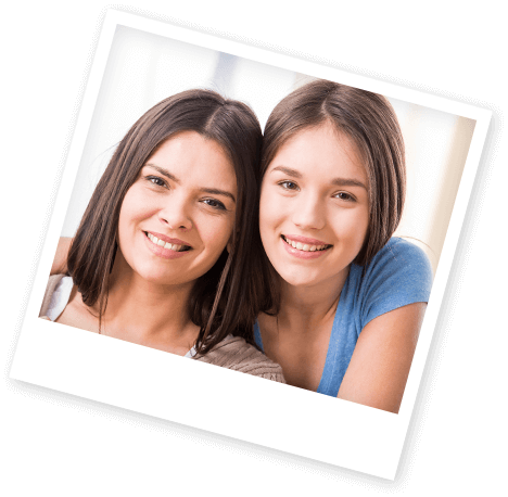 Instant print photo mother and daughter smiling