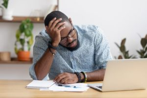 Man with mental health issues feeling stressed and depressed